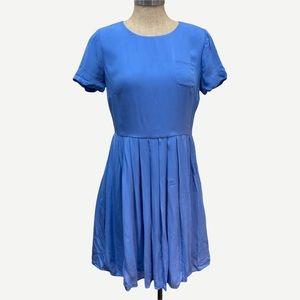 J CREW Blue Pleated Silk Dress 4